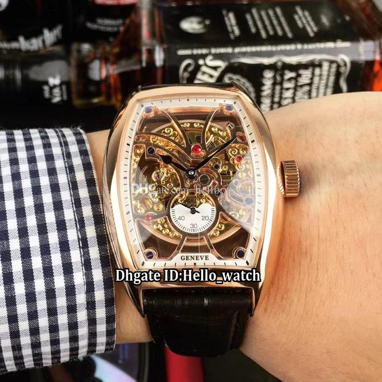 Collezione uomo Cintree Curvex 8880 B S6 SQT quadrante scheletrato oro Tourbillon automatico orologio da uomo cassa in oro rosa cinturino in pelle da uomo
