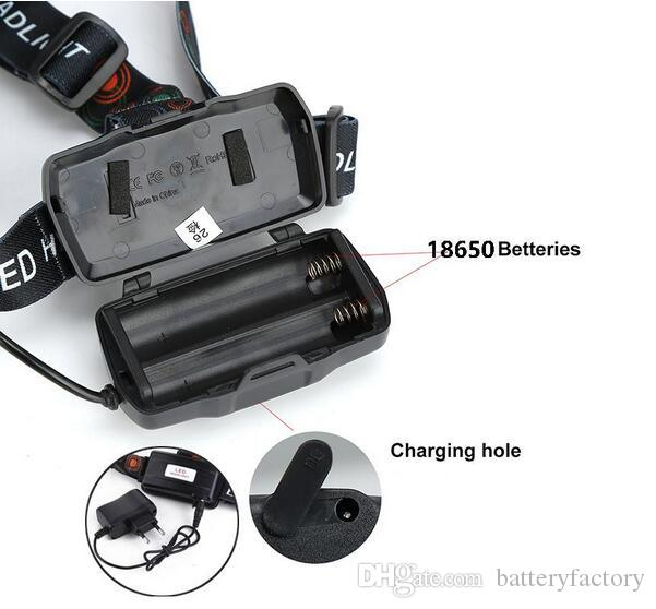 CREE 5 * LED XML T6 Phare 8000 Lumens 4 mode Zoomable Phare Rechargeable Lampe frontale lampe de poche + 2 * 18650 Batterie + Chargeur AC / DC