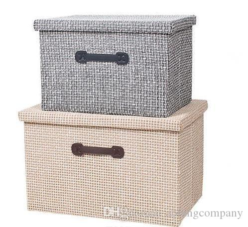 Linen Clothes Storage Box Folding Home Sundries Organizer Toy Clothes Bra  Storage Bin Basket With Lid Laundry Box Container Storage Boxes Clothes Bra  ...