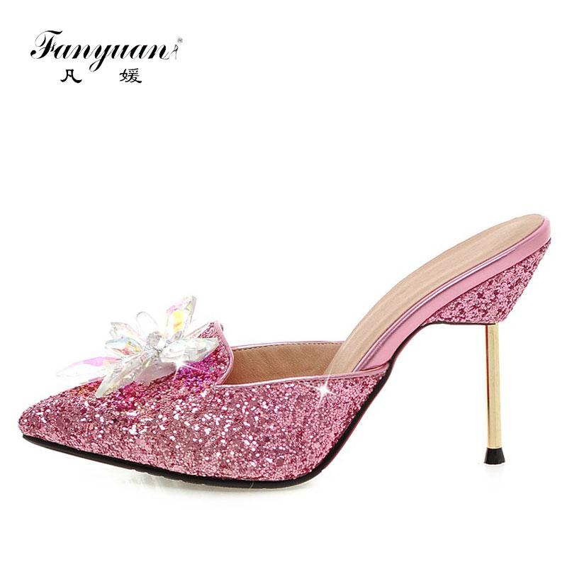 Fanyuan 2017 Women Slippers Stiletto Mules High Heels Slides Sexy Bling Crystal Flower Ladies Party Sandals Summer Shoes Golden