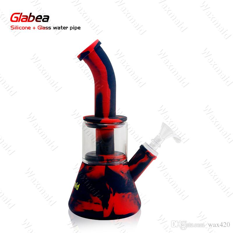 Dab Rig Silicone Water Pipe Unique Pink Heady Glass Dab Rig Colorful Percolator Bong Assorted Colors Wholesale Discount
