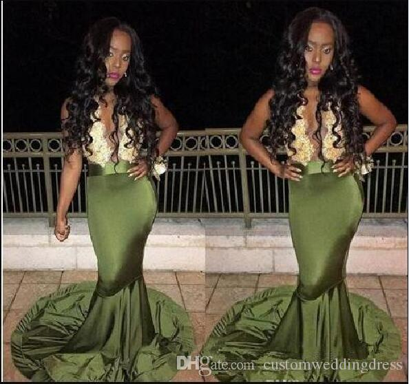 Olive Green African Prom Dresses 2018 Gold Lace Appliques Mermaid michael korns Cocktail Formal Party gown Evening Dress