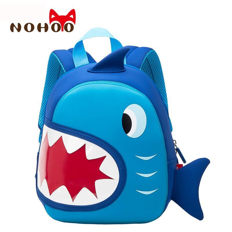 27f53c64d6 NOHOO Waterproof School Bags Blue 3D Shark Kids Backpack Cartoon Animal Children  School Bags For Girls Boys Toddler Baby Bag Y18100705 Gregory Backpack Back  ...