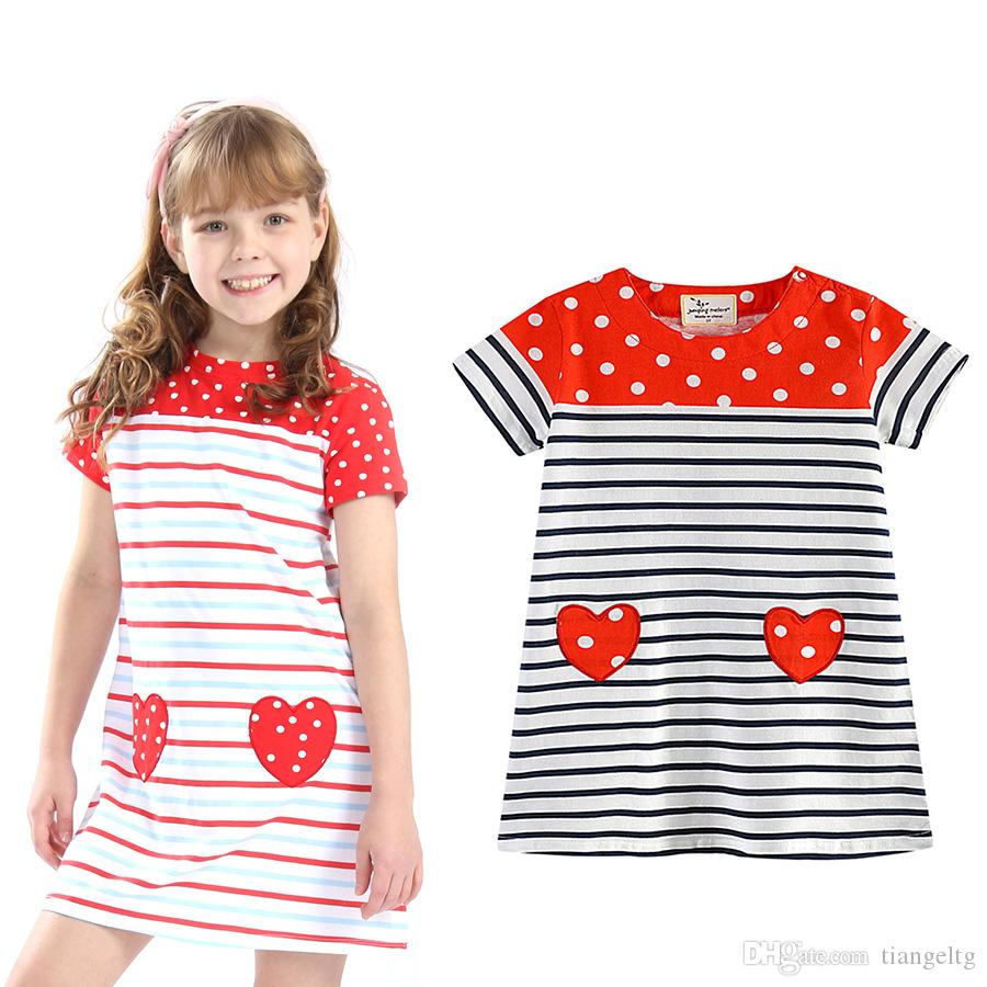 43f93862c8 2019 Girls Striped Dress Red Hearts White Dots Print Short Sleeve Cotton Plaid  Dress Summer Skirt Soft Breathable 2 7T From Tiangeltg