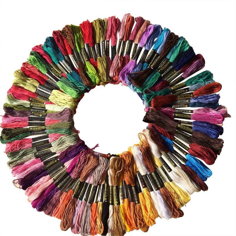 Acquista Nuovo 100 Pz Multicolor Casuale Dmc Cotone Filo Da Ricamo