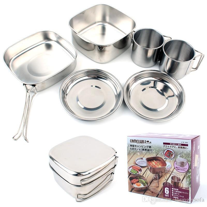 Outdoor Picnic Cookware Set Heat Resistant Stainless Steel Cups Plates Pots Kit Portable Multi Function Camping Supplies Silver 30gt B