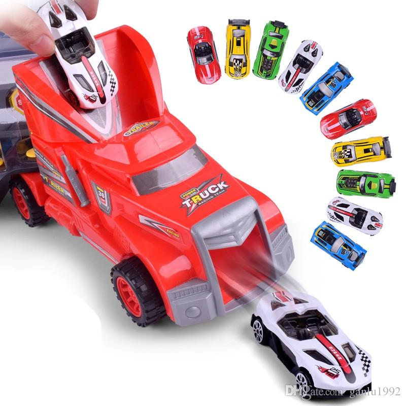 Children Intelligence Toy Racing Car New Pattern Simulation Portable Container Truck Model Inertia Alloy Small Cars Suit 34 8lh W