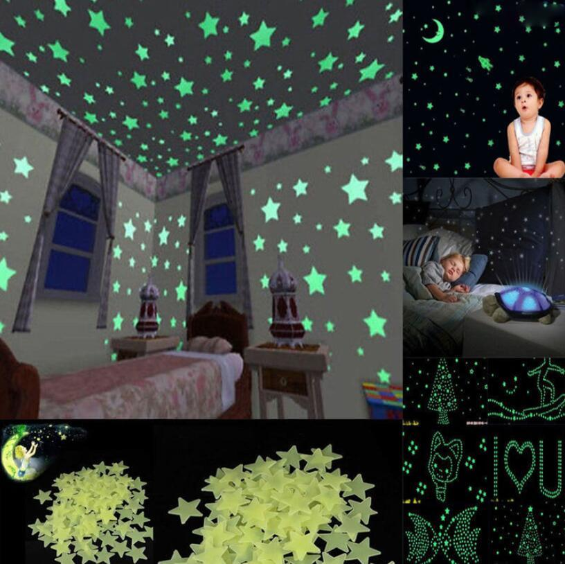 Stars Moon Glow In The Dark Wall Stickers Super Home Decoration Kids Room Decor OOA5286 Baby Borders Star Nursery From