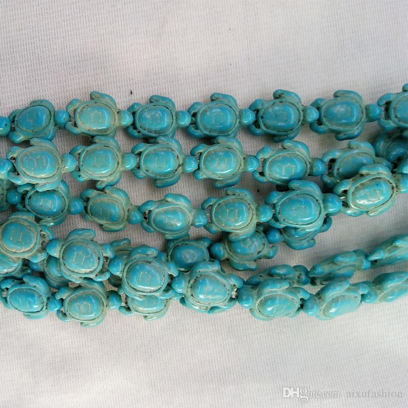 Venta al por mayor Tallado Mar Howlite Tortuga Tortuga Tortuga encanto de piedra para pulseras Joyería Fabricación 14 * 18mm Blanco Azul Tortuga Tortuisa Granos de piedra