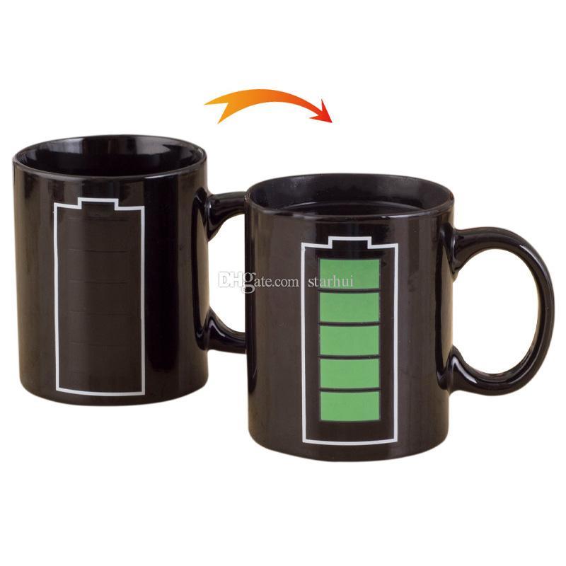 Taza mágica que cambia de calor 301-400 ml Signo de la estrella Taza mágica Cambio de color Té Café Leche Taza de agua Cambio de calor fresco Color Copas de cerámica WX9-528