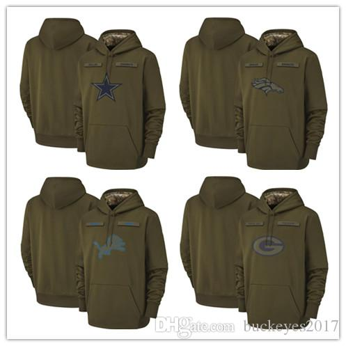 quality design f3d7c fae08 Dallas Cowboys Denver Broncos Detroit Lions Green Bay Packers Olive Titans  Salute to Service Sideline Therma Pullover Hoodie