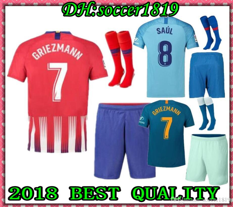 96c7cb335 2019 Atletico Madrid Soccer Jersey Men Set 19 20 Home Away THIRD UCL KOKE  GRIEZMANN SAUL GABI DIEGO COSTA Adult Kit 2018 2019 Blue Green Shirt From  ...