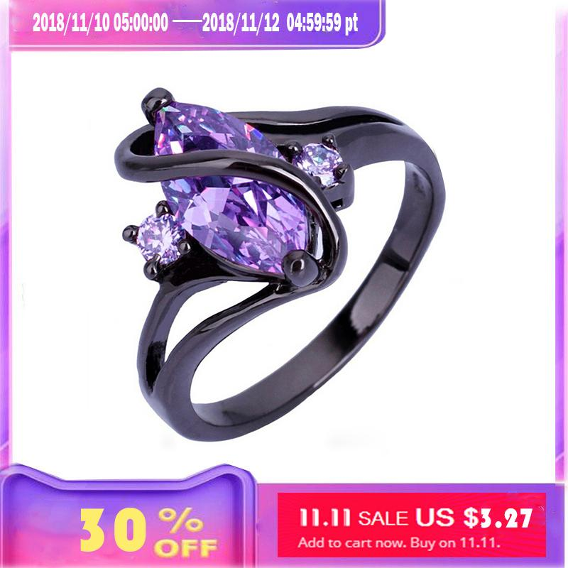 Stainless steel Black gold wedding ring with Blue/green/purple crystals zircon punk engagement rings for women/male/men/couples