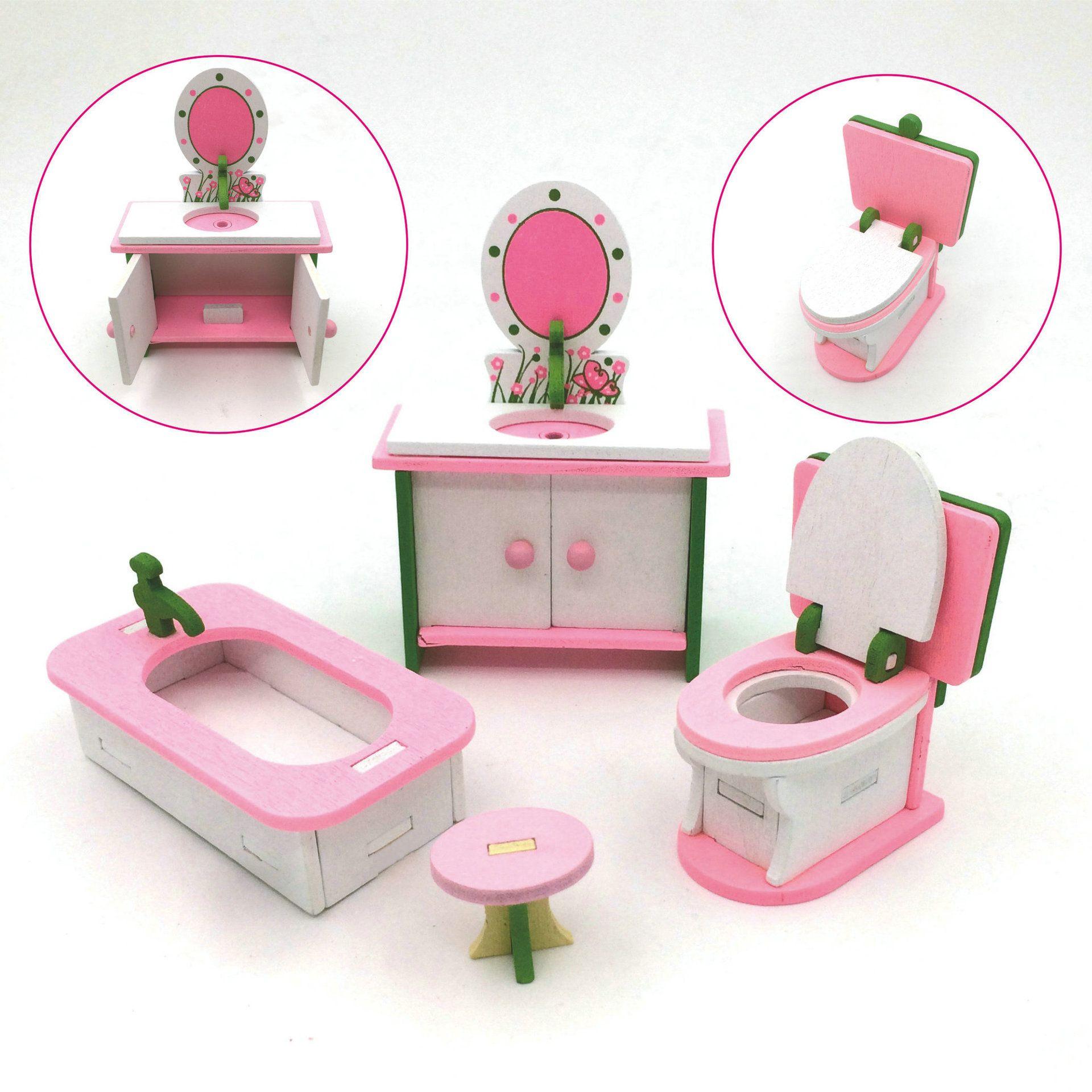 Großhandel Holz Puppe Etagenbett Set Möbel Puppenhaus Haushalt Küche ...