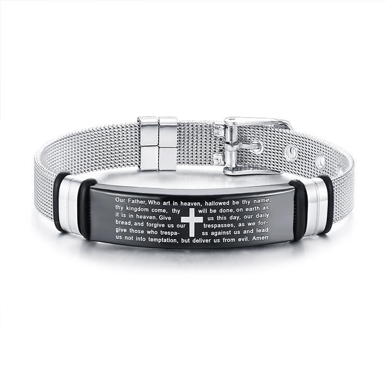 Men s Bible Verse Bracelets Stainless Steel Cross Strap Bracelet Size  Adjustable Pulsera Masculina