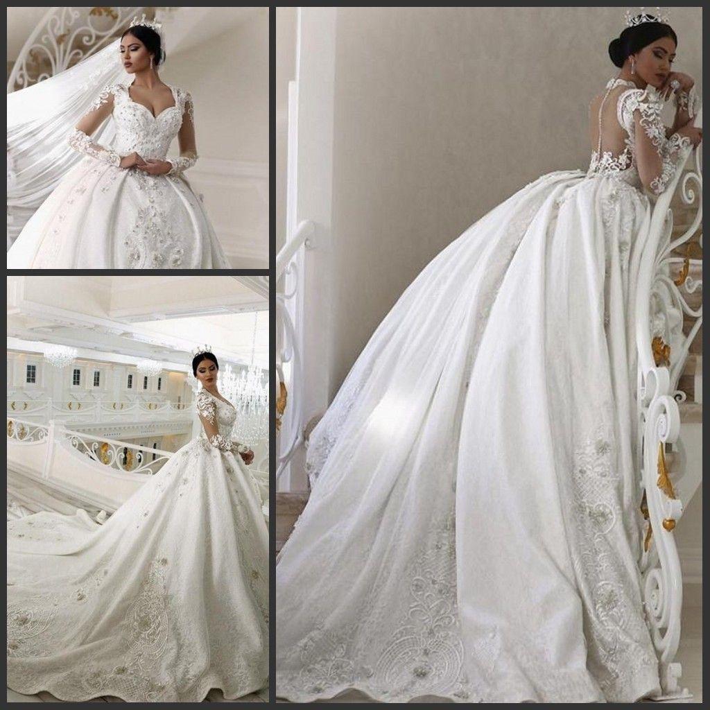 Cheap Pretty Flowers Wedding Dresses Discount Ball Gown Sweep Train Wedding  Dress e55f3f5834f1