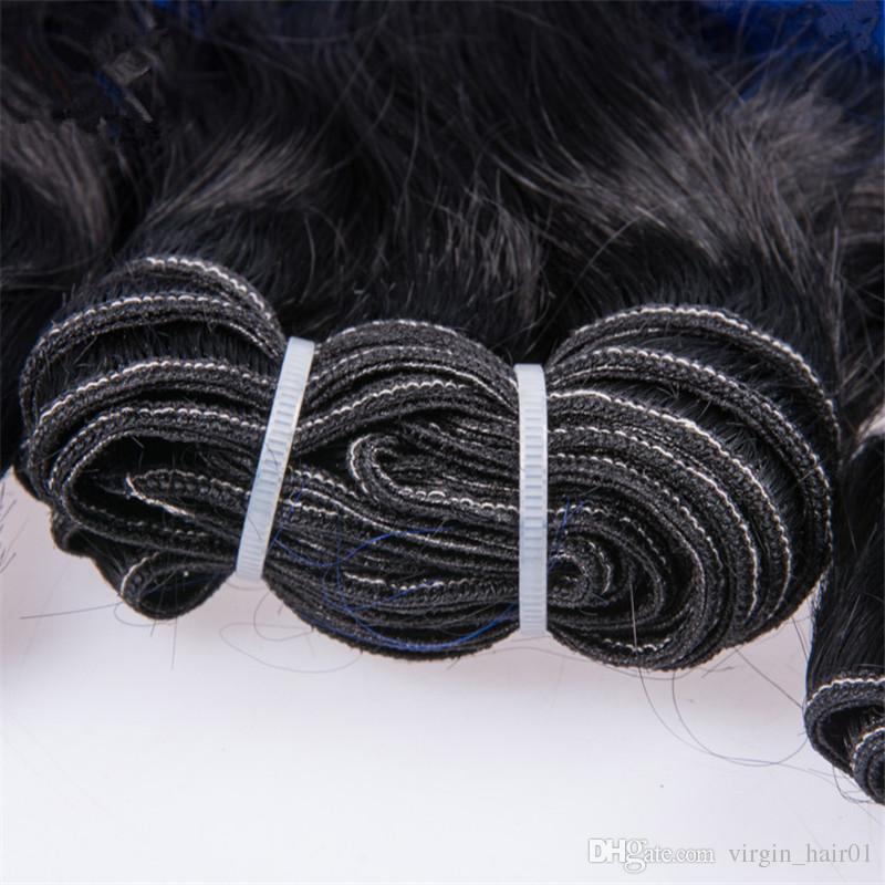 Peruvian Virgin Ombre Body Wave 3 Hair Bundles 100g/pc Three Tone 1b Blue Pink Hair Bundles Top Quality For Sale