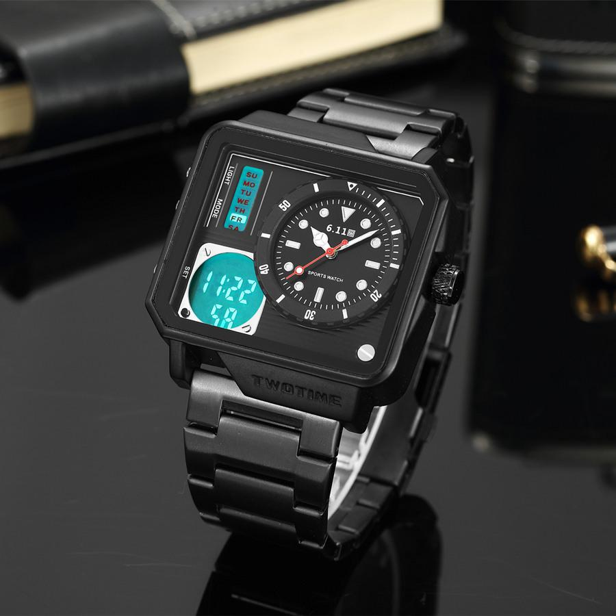 de91616791f 6.11 2018 New Mens Sport Watch Black Square Watch Stainless Steel Back  Light Dual Time Zone Quartz Watches Men Montre Homme Watches On Sale Watches  Sale ...