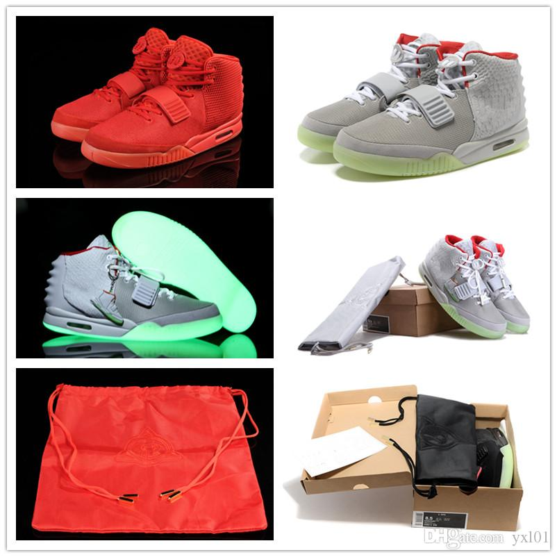 Updated 2018 Classic Kanye West 2 II NRG Red October Basketball Shoes for Men's 2s Glow Green Black Grye Red Fashion Sports Sneakers US 8-13