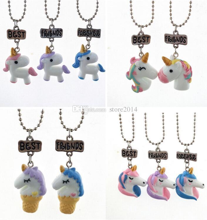 Wholesale Unicorn Necklace Best Friends Forever Pendant Necklaces