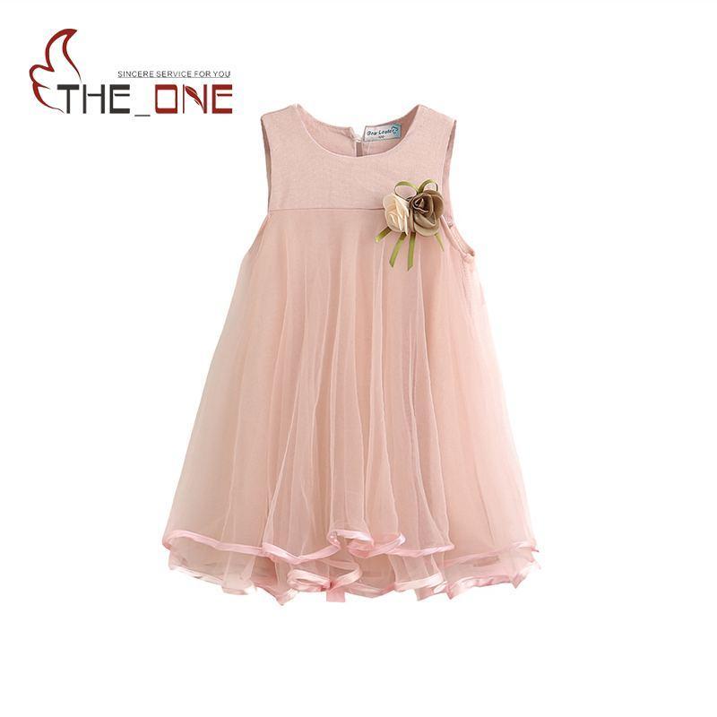 Pretty Baby 2017 Summer Girls Sundress Kids Flower Cute Petal Sleeveless Cotton Princess Dresses Children Girl Dress Clothing
