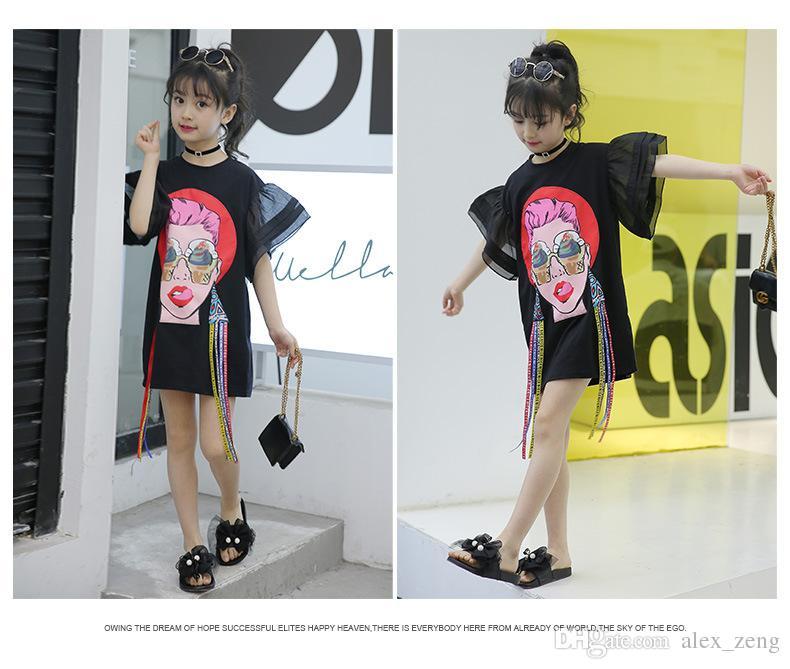 Big Girls T-shirt 2018 Kids Girls Clothing Mouth Beautiful Woman Printed Tassel Flare Sleeve Children Tops Summer Fashion Casual Dress