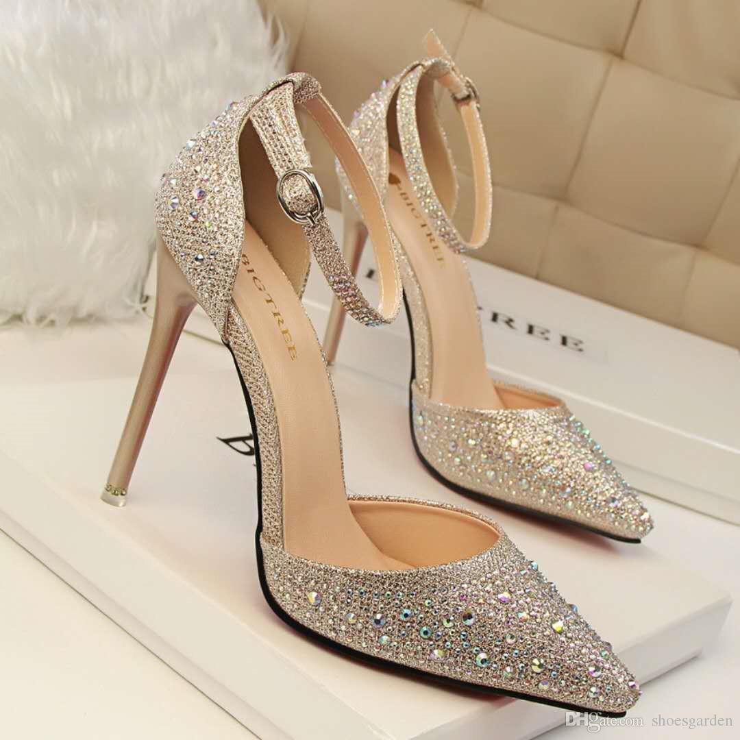 Rhinestone Shining Golden Wedding Shoes About 10.5CM