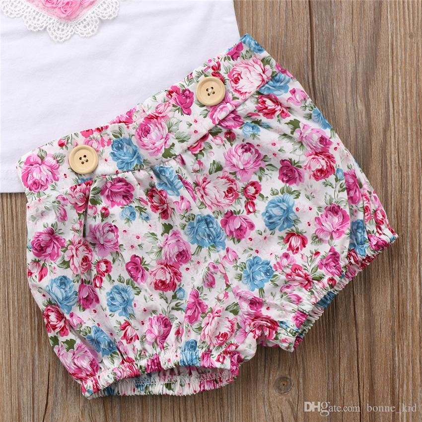 Floral Kids Baby Girls Younger Sister Dress Outfits Clothes Tops Vest Shorts Hairband Set Pink Heart Family Matching Clothing Toddler