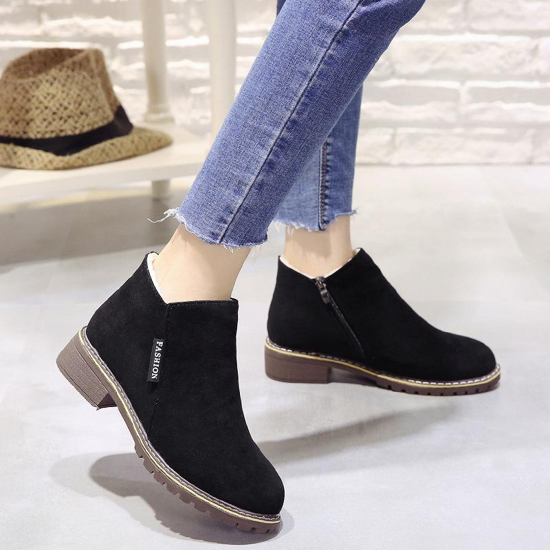 018 Winter Women Shoes Woman Boots Square High Heels Ankle Pointed Toe Faux Fur Fashion Warm Luxury Ladies Boot Black