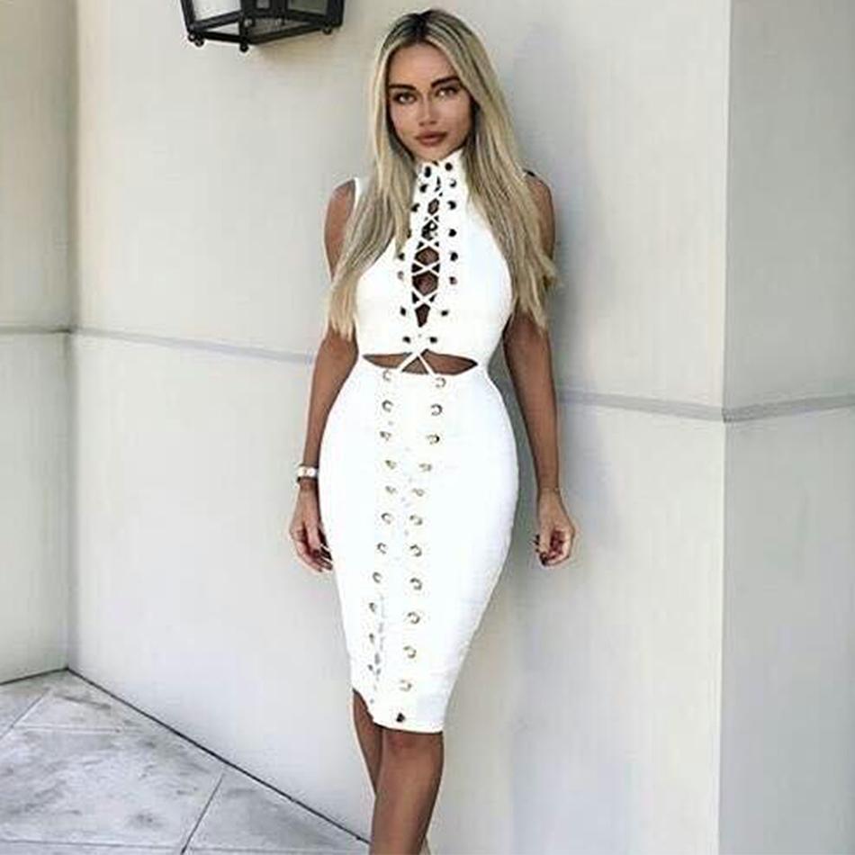 Großhandel 2018 New Spring Bandage Kleid Frauen Promi Sleeveless ...