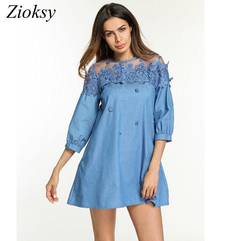 2018 Plus Size S 5xl Summer Dress Women Mesh Lace Splicing 3d