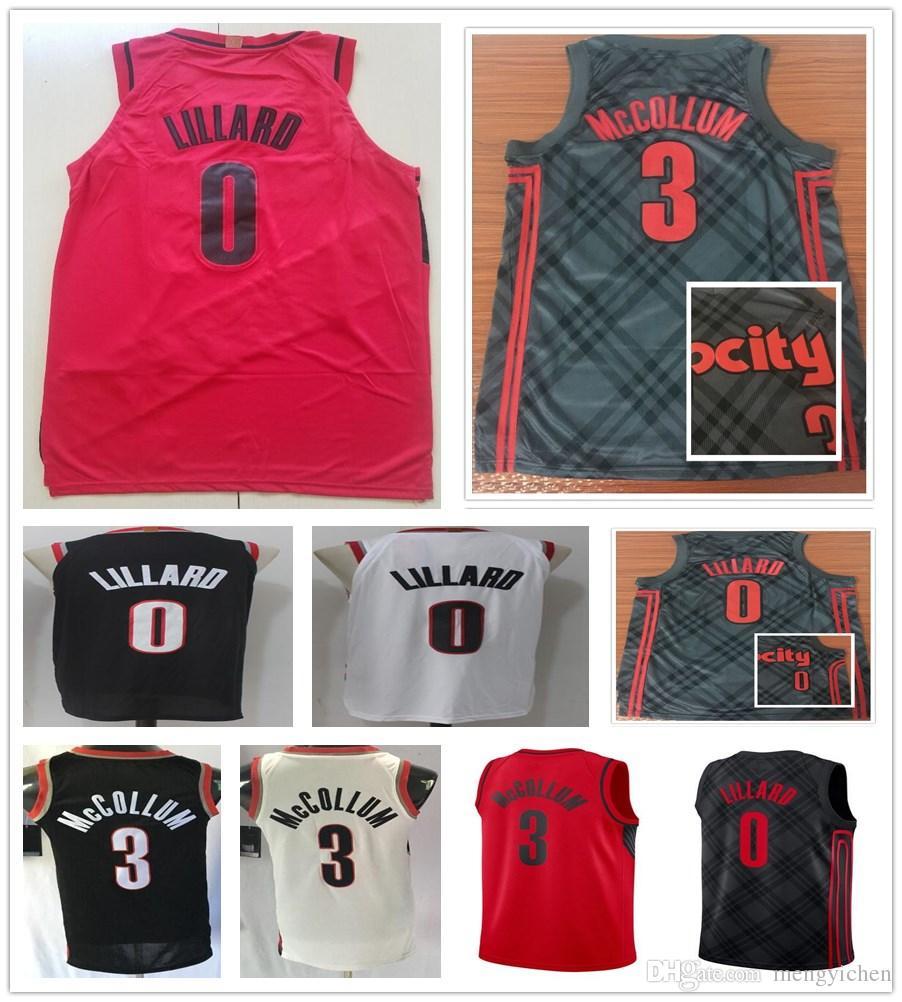 ab501e22a ... switzerland stitched 2019 new style 0 damian lillard jerseys the city  edition black red white basketball