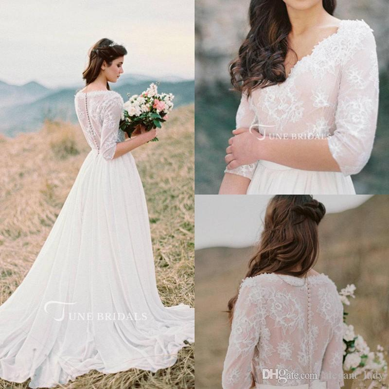 f2da7c122471c Discount 2018 Western Country Bohemian Wedding Dresses Lace Chiffon Modest  V Neck Half Sleeves Long Bridal Gowns Plus Size Dress For Wedding Vintage  Style ...