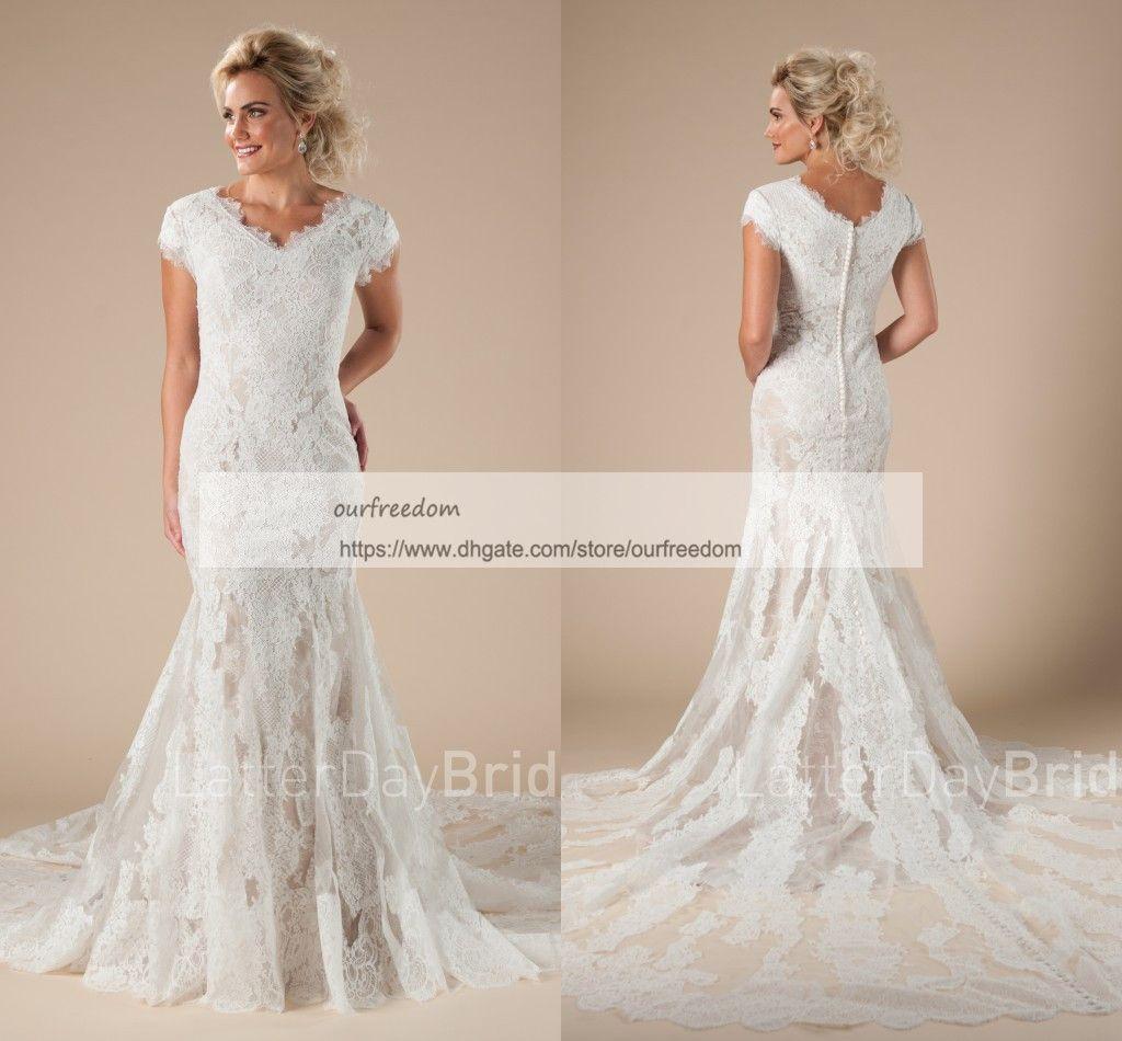Designer Wedding Gown Rental: 2018 Modest Cheap V Neck Wedding Dresses Cape Sleeve Lace