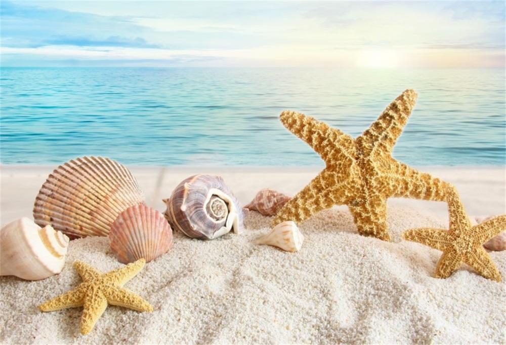 Laeacco été Vacances Mer Plage Sable Shell étoile De Mer Fond Photographique Personnalisé Photographie Décors Pour Photo Studio