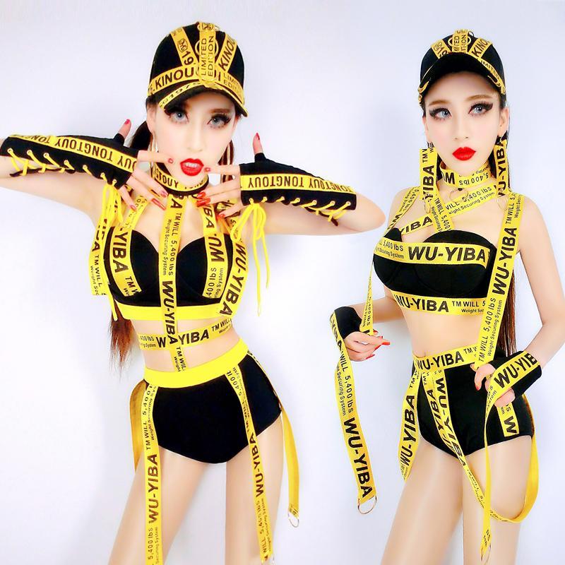 e9e460704f841 Compre Disfraces De Baile Hip Hop Led Costume Bar Ds Ropa De Rendimiento  Trend Letter Hip Hop Jazz Sexy Night Club Dj Female Singer DN1666 A  48.97  Del ...