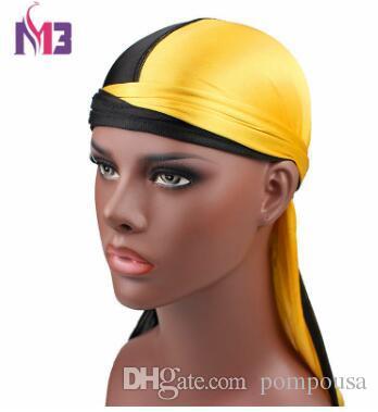 e964b70bd2a New Fashion Men S Silk Patchwork Double Colors Soft Satin Durag Bandanas  Turban Hats Headband Hat Hair Accessories Pretty Hair Pins Pretty Hair  Combs From ...