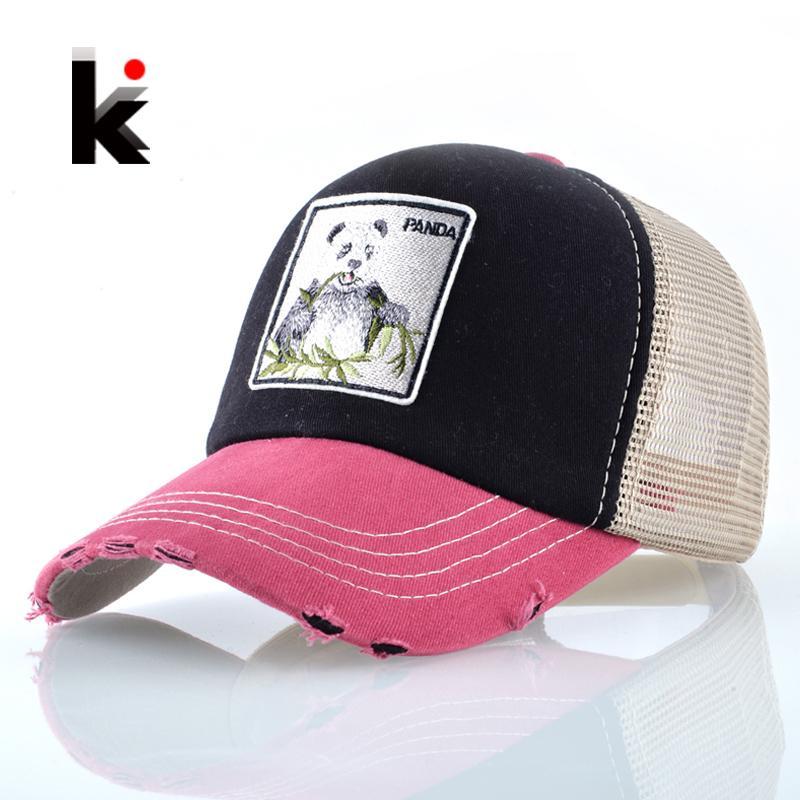 6a7be990ea682 Panda Trucker Cap Snapback Patch Baseball Cap Women Casual ...