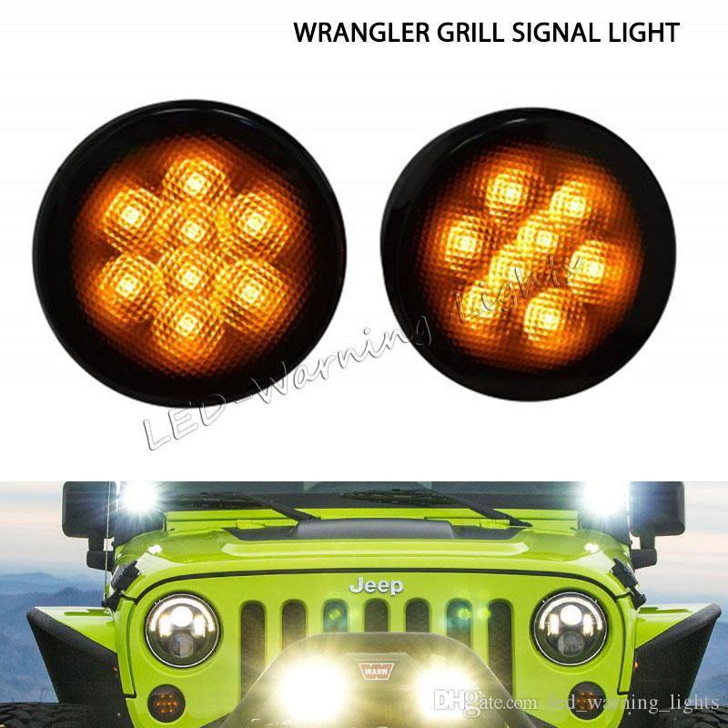 Free shipping 2pairs smoke clear amber LED turn signal lights for Jeep  Wrangler JK 07-15 marker parking front grill turn light kit