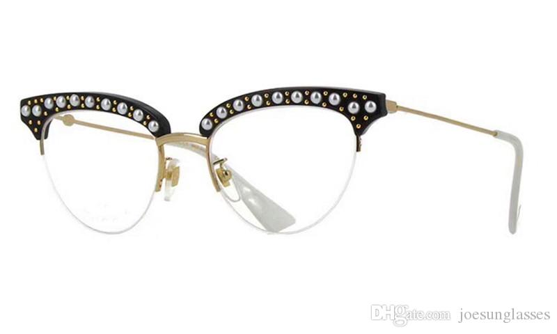 43e1449033 New Fashion Women Designer Optical Glasses 0213half Frame Charming Cat Eye  Frame with Pearl And Rivets Clear Lens Top Quality Glasses Prescription  Eyewear ...