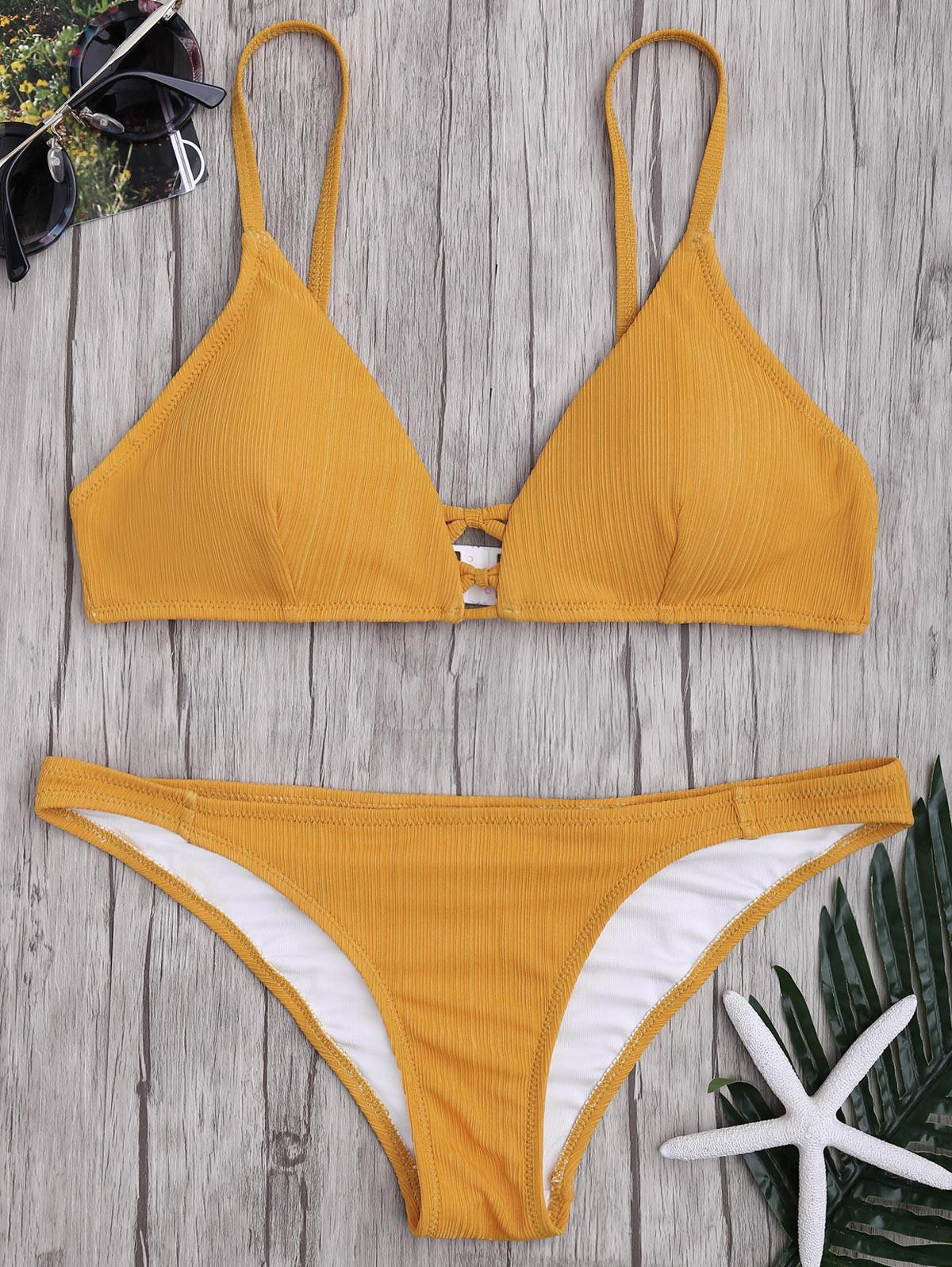 0fc5ab209ef7 venta al por mayor Criss Cross correa de espagueti textura Bikini conjunto  mediados de cintura color sólido traje de baño biquinis feminino traje de  ...