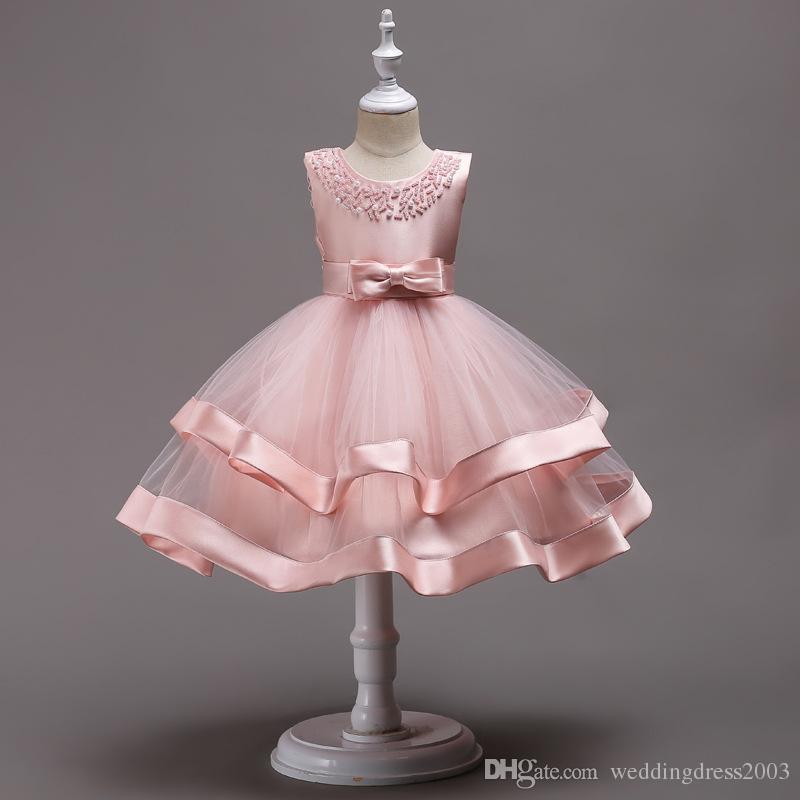 Schöne 2018 Baby Mädchen Kleider Perlen Juwel Hals flauschigen Rock Tee-Länge rot blau rosa Satin und Organza Kleinkind Vestidos De Fiesta