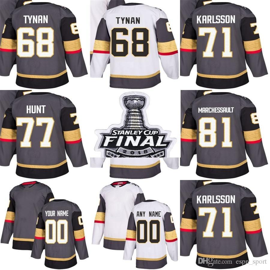 77c949e4d 2019 2018 Stanley Cup Final Vegas Golden Knights 68 T.J. Tynan 71 William  Karlsson 77 Brad Hunt 81 Jonathan Marchessault Grey White Hockey Jersey  From ...