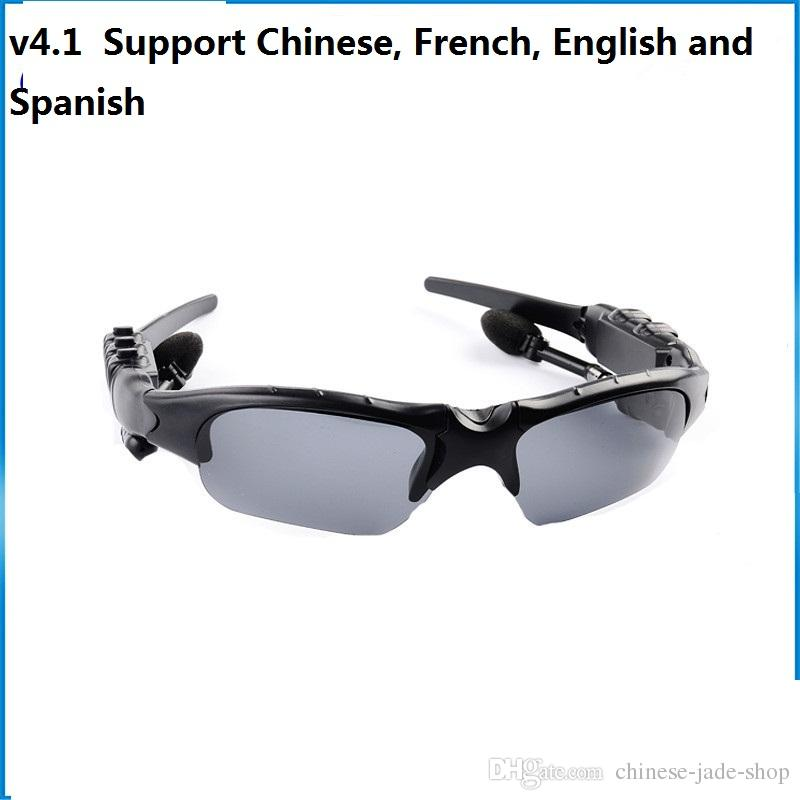 V4.1 Wireless Bluetooth Outdoor Sunglasses Sun Glasses Stereo Handsfree Headset Earphones Earbuds for smart phone in retail HBS-368