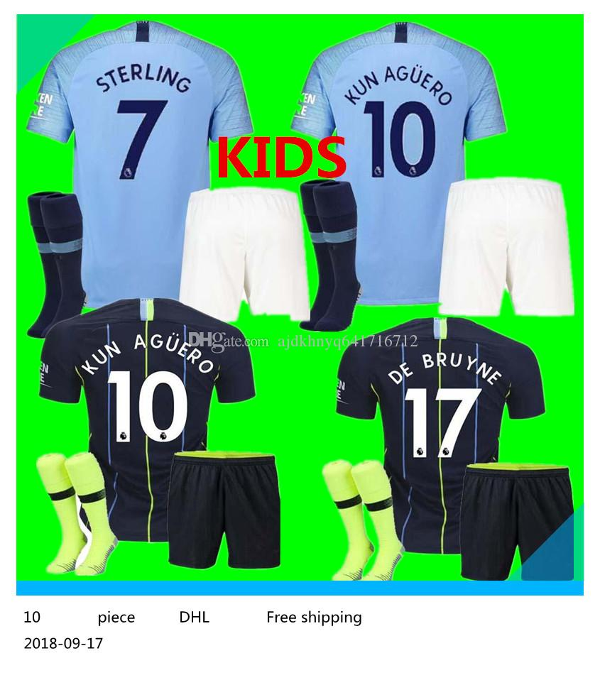 2019 18 19 Sane Soccer Jerseys 2018 2019 Man City Kids Kit DZEKO KUN AGUERO  KOMPANY TOURE YAYA DE BRUYNE Home Shirt And Kids From Ajdkhnyq641716712 183a5938d