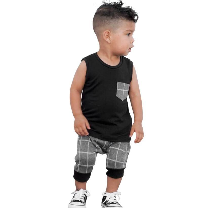 4b3cc60cc914 Baby Boys Girls Clothes Infant Toddler Newborn Plaid Tops T Shirt ...
