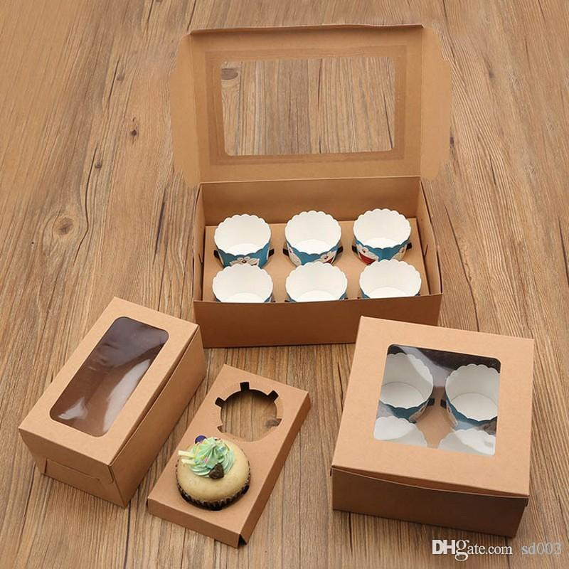 Kraft Card Paper Cake Boxes Foldable Muffin Dessert Holders Brown Retro Style Cupcake Wrap Package Many Sizes 3 2ms7 ZZ
