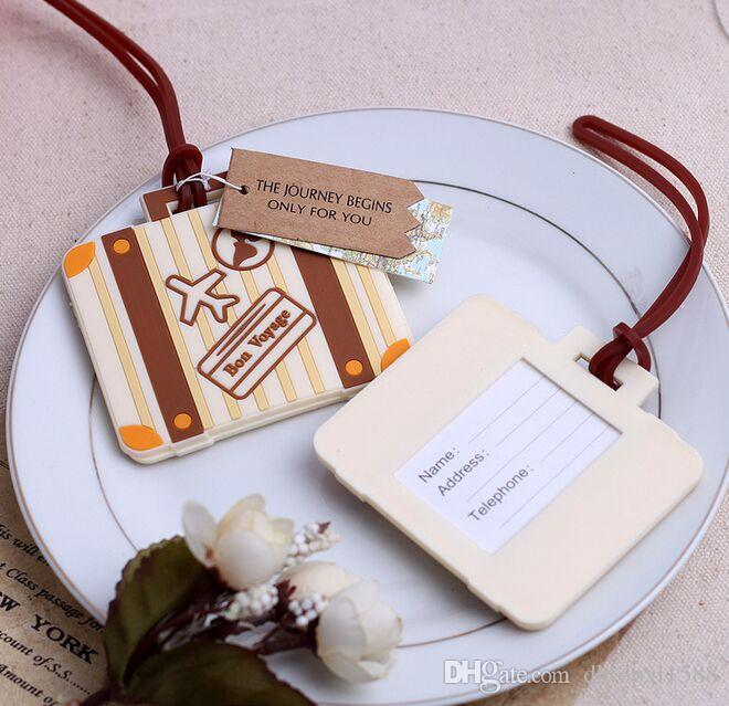 121df62966f8 New wedding gift reply suitcase luggage tag Write 'bon voyage' on travel  luggage card Free shipping