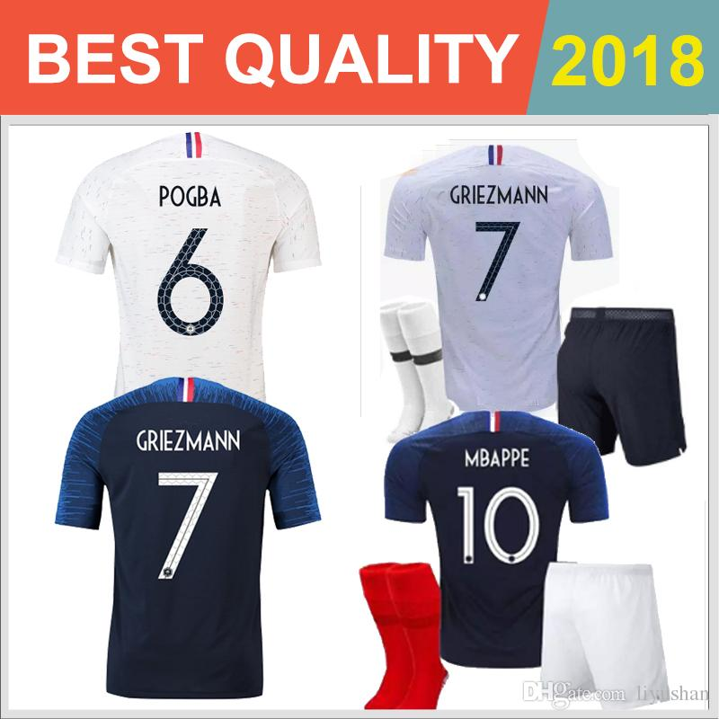 2771ba05f95 ... 2018 world cup france pogba soccer jersey kids kit home blue 18 19 payet  dembele mbappe