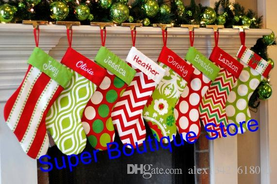 wholesale high quality hot selling 8 styles mixed monogram fashionable striped christmas stocking cool christmas decorations country christmas decorations - Striped Christmas Stockings